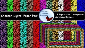 Cheetah Digital Paper and Matching Borders Frames Backgrou