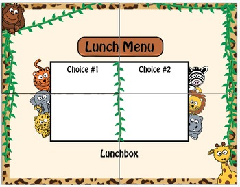 Cheetah Jungle Safari Lunch Menu / Dry Erase / Elementary Classroom Decorations