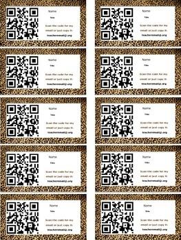 Cheetah Magnetic Information QR Code Cards for Meet The Teacher