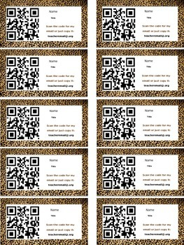 Cheetah Magnetic Information QR Code Cards for Meet The Teacher