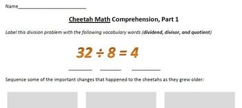 Cheetah Math, by Anne Whitehead Nagda, Comprehension
