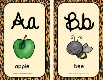 Cheetah Print Alphabet Posters - Cursive
