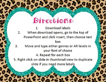 Cheetah Print Book Bin Labels-Animal Print Labels