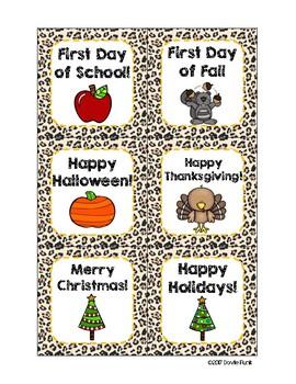 Classroom Decor Cheetah Print Calendar Set