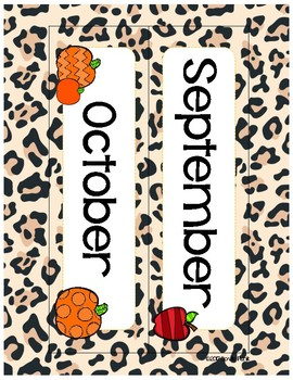Classroom Decor Cheetah Print Calendar Set