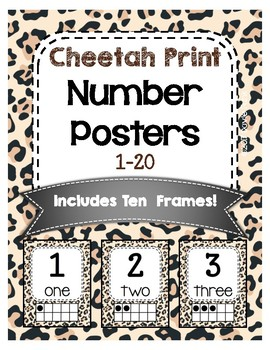 #roomdecor Cheetah Print Classroom Number Posters with Number Words & Ten Frames