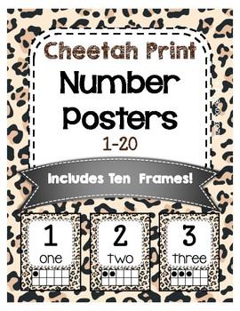 Classroom Decor Cheetah Print Classroom Number Posters 1-20