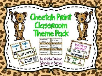 Cheetah Print Classroom Theme Pack