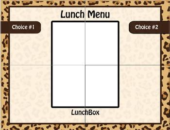 Cheetah Print Lunch Menu / Style 2 / Elementary Classroom Decorations