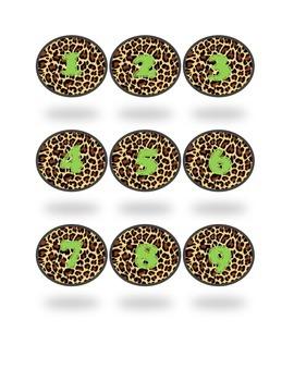 Cheetah Print Round Classroom Numbers