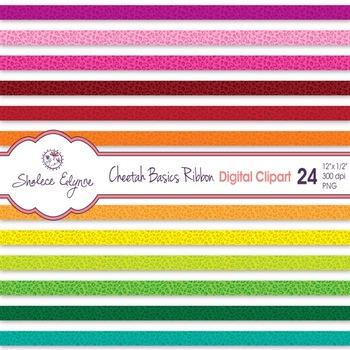 Cheetah Ribbon Digital Clip Art - 24 Basic Colors
