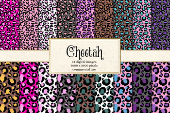 Cheetah patterns, leopard digital paper, seamless animal skin backgrounds