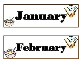 Chef Calendar! Baking Calendar! Chef Baking Bulletin Board! Chef Theme! Baking!