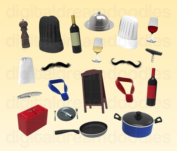 Chef Clipart - Restaurant Digital Graphics