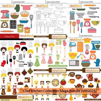 Chef Kitchen Collection clip art mega bundle (9 packs)
