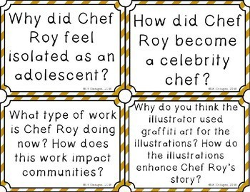 Chef Roy Choi Novel Study Discussion Question Cards