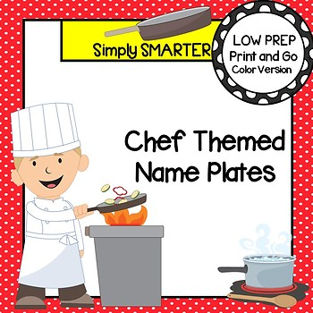 Chef Themed Desk Name Plates with Alphabet and Numbers (1-20)