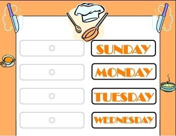 Chef Weekday Chart! Baking Theme Weekday Chart! Baking Chef Bulletin Board!