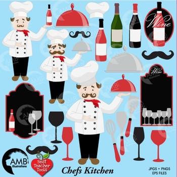 Chef and Kitchen Clipart, Restaurant Clipart, {Best Teacher Tools}, AMB-914