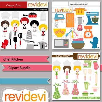 Chef kitchen clip art bundle (3 packs) cooking baking clipart