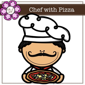 Chef with Pizza Digital Clipart (color and black&white)