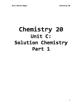 Chem 20 Unit C Solutions, Acid and Base