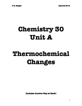 Chem 30 Unit A Thermochemistry Workbook