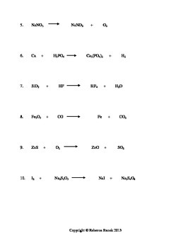 Chem Compounds Balancing Equations Worksheet #2 with Key