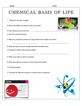 Chemical Basis of Life Test or Review w/key