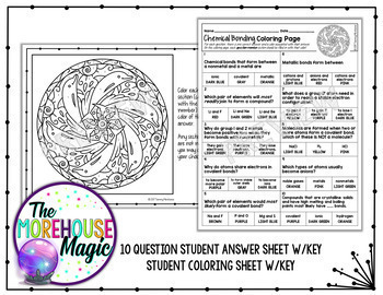 chemical bonding science color by number quiz - Chemistry Coloring Sheets 2