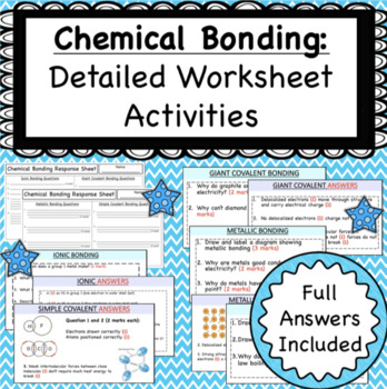 Ionic And Metallic Bonds Worksheets Teaching Resources TpT
