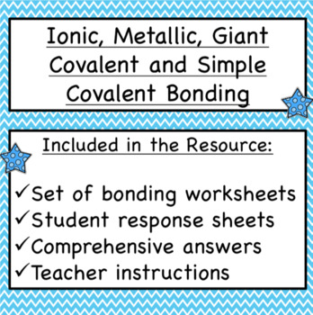 Chemical Bonding Covalent Ionic And Metallic Worksheets By
