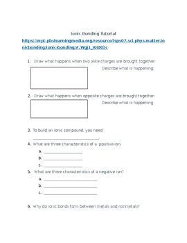 Chemical Bonding Interactive Tutorial Questions