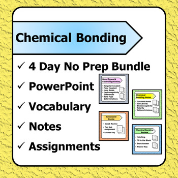 Chemical Bonding PPT -Vocab & Notes -Bond Type Calcs -Section Review - Crossword