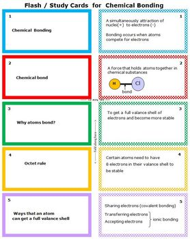 Chemical Bonding: Printable Flash (Study) Cards to study for quizzes & tests