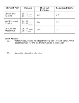 Chemical Bonding Quiz