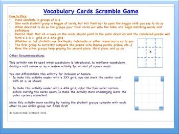 Chemical Bonding Vocabulary Scramble Game