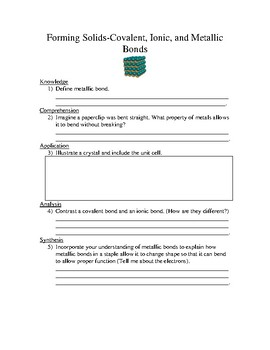 Chemical Bonding Worksheet by King's Science | Teachers Pay Teachers