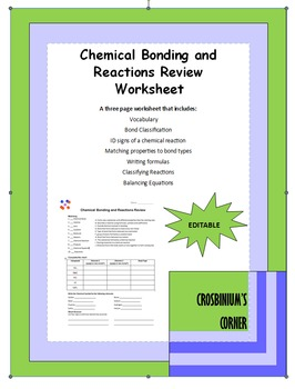 Chemical Bonding and Reactions Review