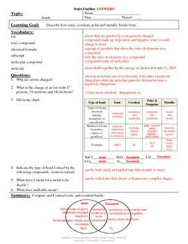 Chemical Bonds - Cornell Notes #38