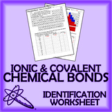 Chemical Bonds - Ionic & Covalent Identification Worksheet