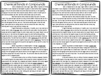 Chemical Bonds Reading Comprehension Interactive Notebook