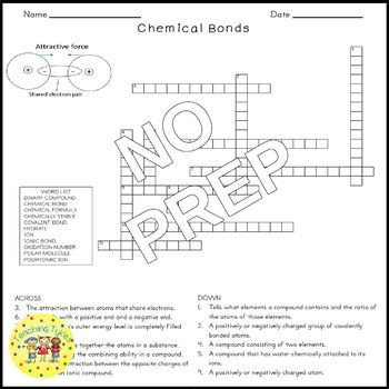 Chemical Bonds Science Crossword Puzzle Coloring Worksheet Middle School