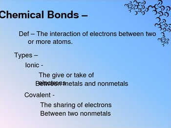 Chemical Bonds and Naming Compounds powerpoint