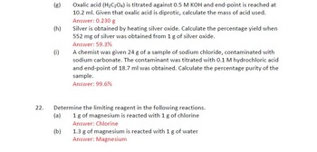 Chemical Calculation Worksheet