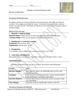 Chemical Change Investigation