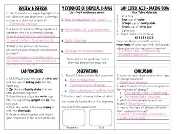 Chemical Changes Lab Student Foldable, Directions & Lab Table Card w/ Key