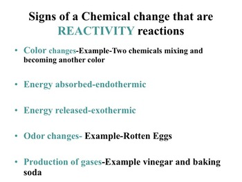 Chemical Changes and Reactions of Matter