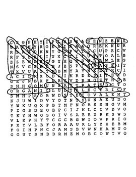Chemical Compounds Wordsearch Puzzle with Key