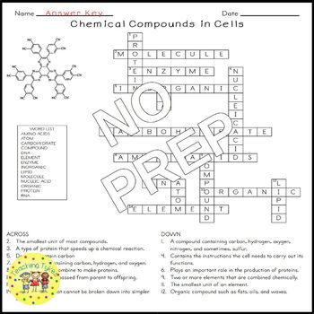 Chemical Compounds in Cells Crossword Puzzle